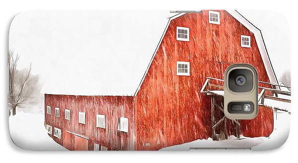 Galaxy Case featuring the painting Whiteout On The Farm Blizzard Stella by Edward Fielding
