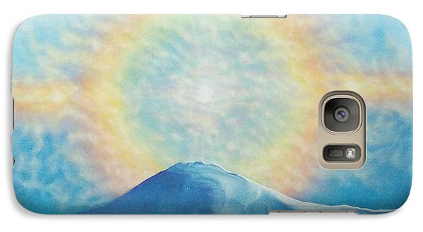 Galaxy Case featuring the painting Who Makes The Clouds His Chariot Fire Rainbow Over Alberta Peak by Anastasia Savage Ealy