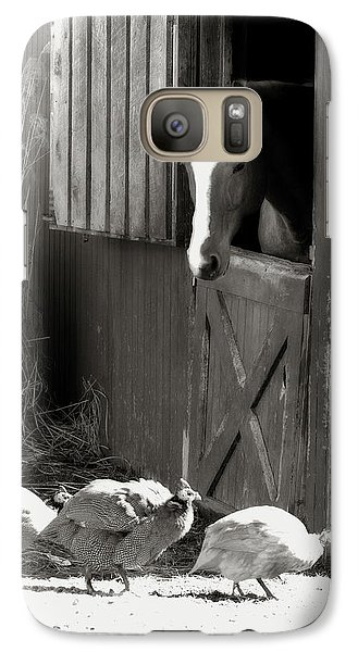 Galaxy Case featuring the photograph Why Did The Guinea Hen Cross The Road - Sepia by Angela Rath