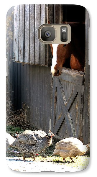 Galaxy Case featuring the photograph Why Did The Guinea Hen Cross The Road by Angela Rath
