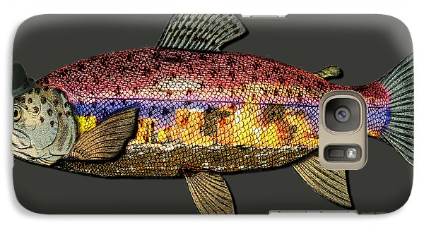 Galaxy Case featuring the digital art Wild And Free In Anchorage-trout With Hat by Elaine Ossipov