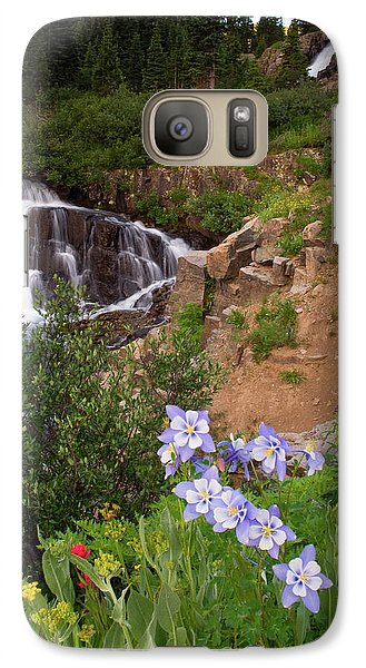 Galaxy Case featuring the photograph Wild Flowers And Waterfalls by Steve Stuller