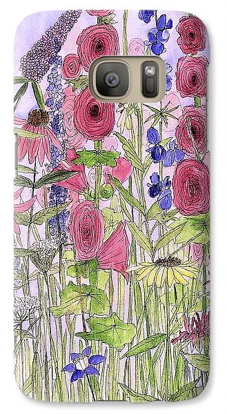 Galaxy Case featuring the painting Wild Garden Flowers by Laurie Rohner