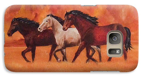 Galaxy Case featuring the painting Wild Horses by Ellen Canfield