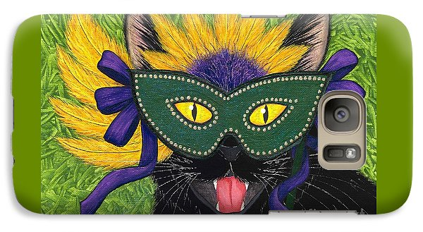 Galaxy Case featuring the painting Wild Mardi Gras Cat by Carrie Hawks