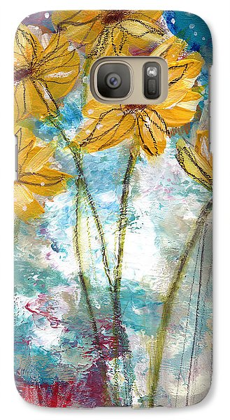 Sunflower Galaxy S7 Case - Wild Sunflowers- Art By Linda Woods by Linda Woods