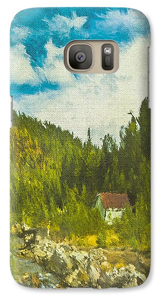 Galaxy Case featuring the digital art Wilderness Cabin by Dale Stillman