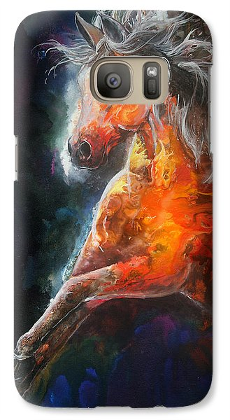 Galaxy Case featuring the painting Wildfire Fire Horse by Sherry Shipley