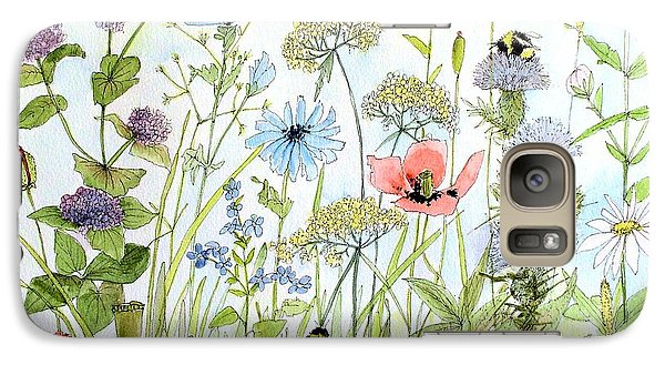 Galaxy Case featuring the painting Wildflower And Bees by Laurie Rohner