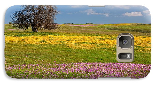 Galaxy Case featuring the photograph Wildflowers And Oak Tree - Spring In Central California by Ram Vasudev