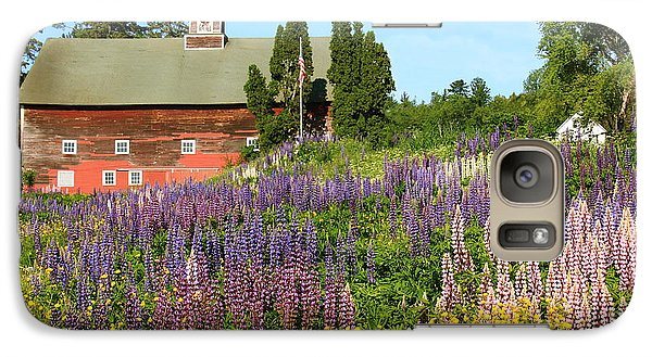 Galaxy Case featuring the photograph Wildflowers And Red Barn by Roupen  Baker