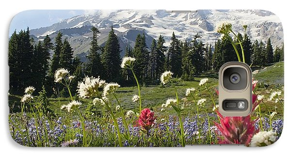 Wildflowers In Mount Rainier National Galaxy S7 Case by Dan Sherwood