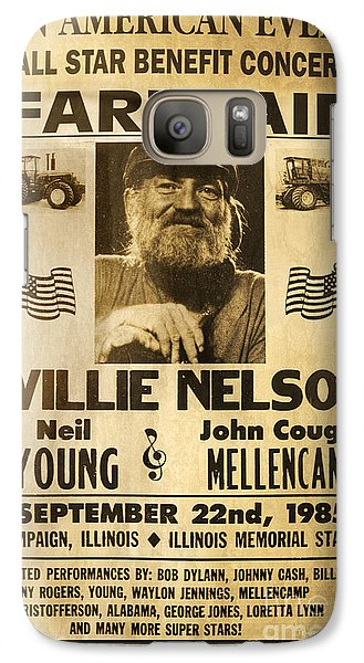 Willie Nelson Neil Young 1985 Farm Aid Poster Galaxy S7 Case by John Stephens