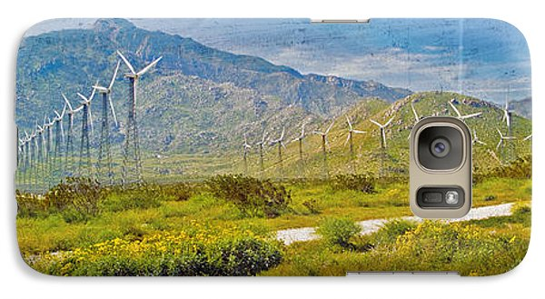 Galaxy Case featuring the photograph Wind Turbine Farm Palm Springs Ca by David Zanzinger