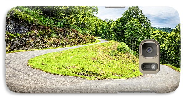 Galaxy Case featuring the photograph Winding Road With Sharp Curve Going Up The Mountain by Semmick Photo