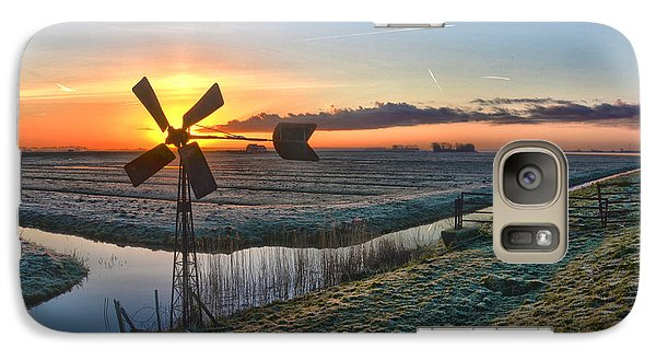 Galaxy Case featuring the photograph Windmill At Sunrise by Frans Blok