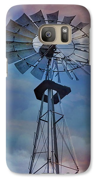 Galaxy Case featuring the photograph Windmill At Sunset by Susan Candelario