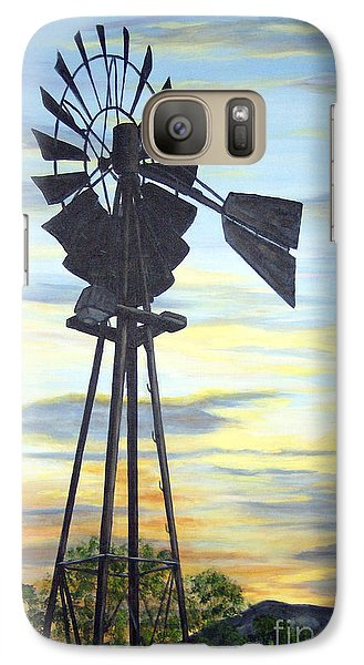 Galaxy Case featuring the painting Windmill Capture The Wind by Judy Filarecki