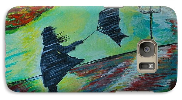 Galaxy Case featuring the painting Windy Escapade by Leslie Allen