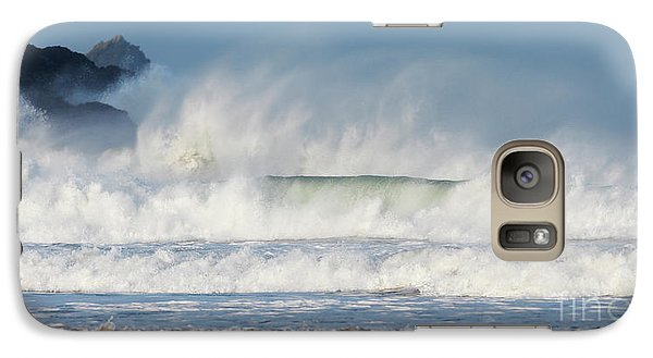 Galaxy Case featuring the photograph Windy Seas In Cornwall by Nicholas Burningham