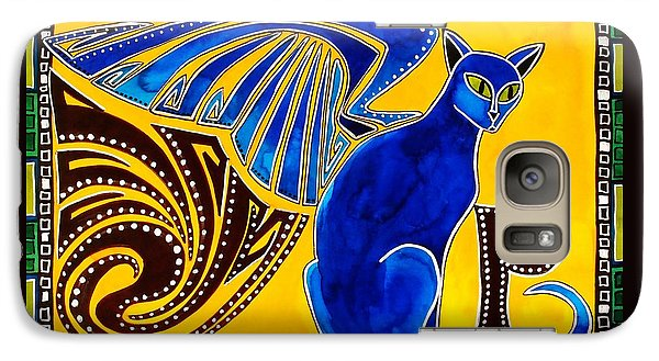 Galaxy Case featuring the painting Winged Feline - Cat Art With Letter P By Dora Hathazi Mendes by Dora Hathazi Mendes