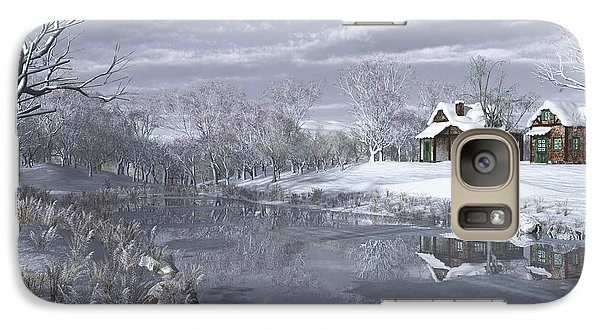 Galaxy Case featuring the digital art Winter At The Lake by Jayne Wilson