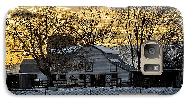 Galaxy Case featuring the photograph Winter Barn At Sunset - Provo - Utah by Gary Whitton