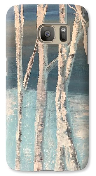 Galaxy Case featuring the painting Winter Birches by Paula Brown