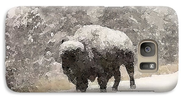 Galaxy Case featuring the digital art Winter Bison by Walter Chamberlain