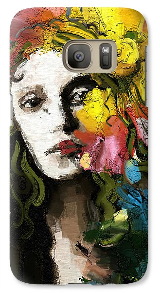 Galaxy Case featuring the mixed media Winter Blues by Carrie Joy Byrnes