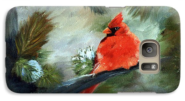 Galaxy Case featuring the painting Winter Cardinal by Brenda Thour