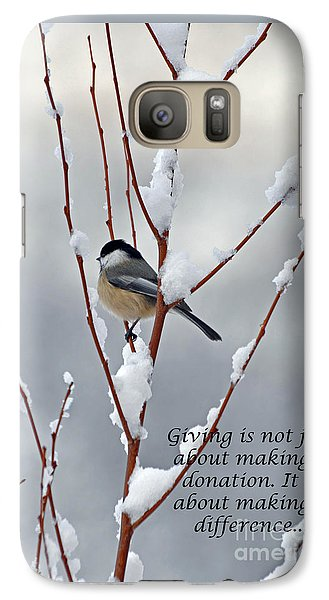 Galaxy Case featuring the photograph Winter Chickadee Giving by Diane E Berry