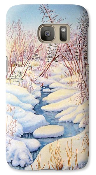 Galaxy Case featuring the painting Winter Creek 1  by Inese Poga