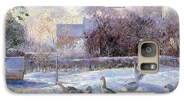 Winter Geese In Church Meadow Galaxy Case by Timothy Easton