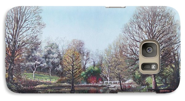 Galaxy Case featuring the painting Winter Hilliers Garden Hampshire by Martin Davey