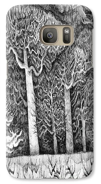 Galaxy Case featuring the drawing Winter Lace by Anna  Duyunova