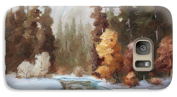 Galaxy Case featuring the painting Winter Landscape Original Oil Painting by Brenda Thour