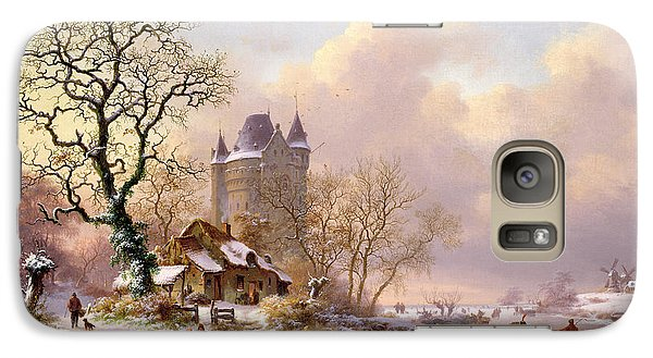 Fantasy Galaxy S7 Case - Winter Landscape With Castle by Frederick Marianus Kruseman