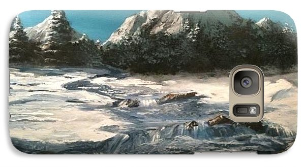 Galaxy Case featuring the painting Winter Mountain Stream by Jack Skinner
