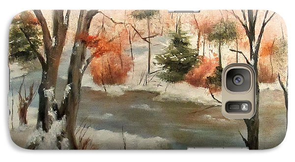 Galaxy Case featuring the painting Winter Stream by Roseann Gilmore