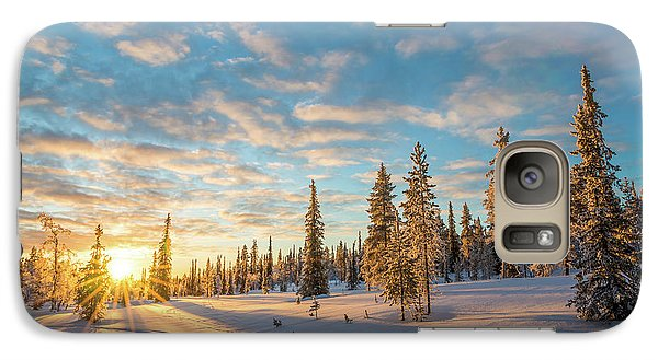 Galaxy Case featuring the photograph Winter Sunset by Delphimages Photo Creations