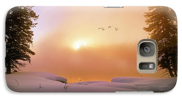 Galaxy Case featuring the photograph Winter Swans by Leland D Howard