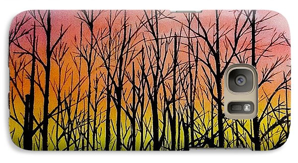 Galaxy Case featuring the painting Winter Trees At Sunset by Ellen Canfield