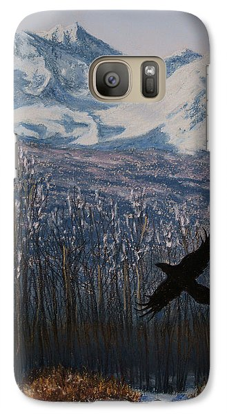 Galaxy Case featuring the painting Winter Valley Raven by Stanza Widen