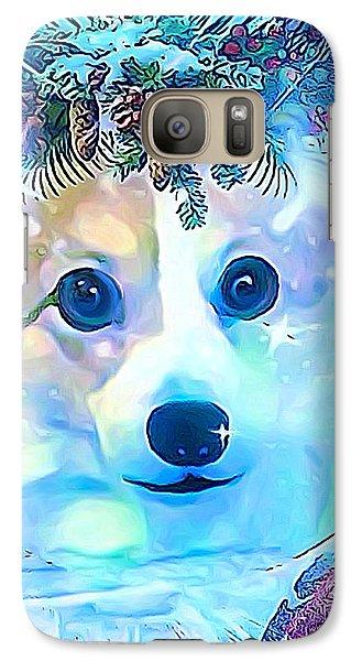 Galaxy Case featuring the digital art Winter Welsh Corgi by Kathy Kelly