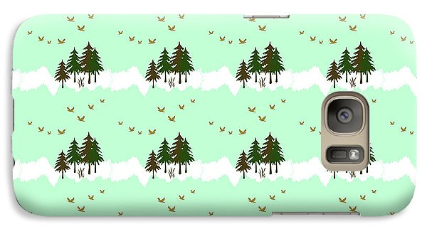 Galaxy S7 Case featuring the mixed media Winter Woodlands Bird Pattern by Christina Rollo