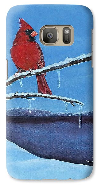 Galaxy Case featuring the painting Winter's Red by Susan DeLain