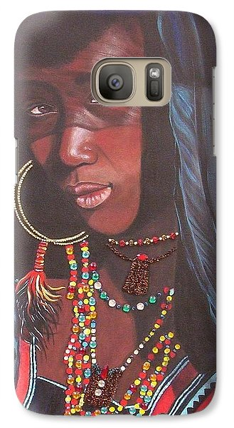 Galaxy Case featuring the painting Wodaabe Girl by Sigrid Tune