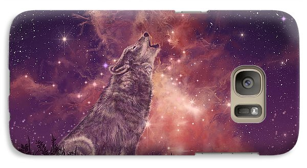 Mountain Galaxy S7 Case - Wolf And Sky Red by Bekim Art