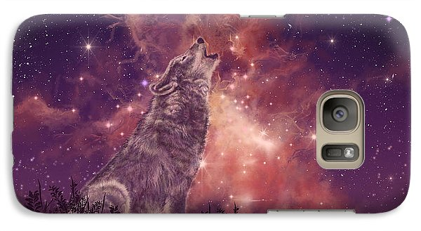 Wolf And Sky Red Galaxy S7 Case by Bekim Art